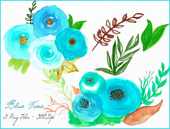 5 watercolor flowers clipart files high res transparent - High resolution watercolor flowers ...
