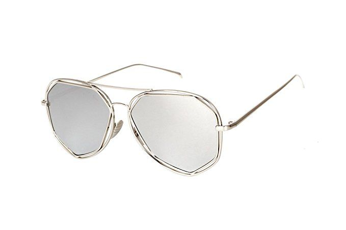 790d5ece47e9b Amazon.com  SojoS Fashion Metal Frame Flat Mirrored Lens Sunglasses SJ1004  With Gold Frame Pink Lens  Clothing