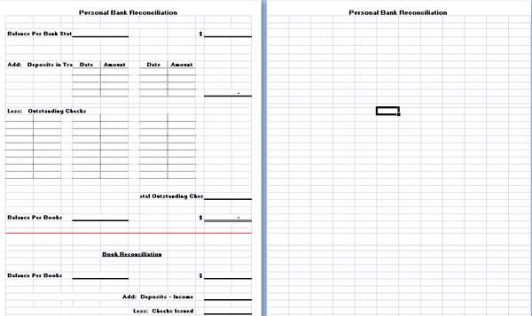 bank reconciliation template excel