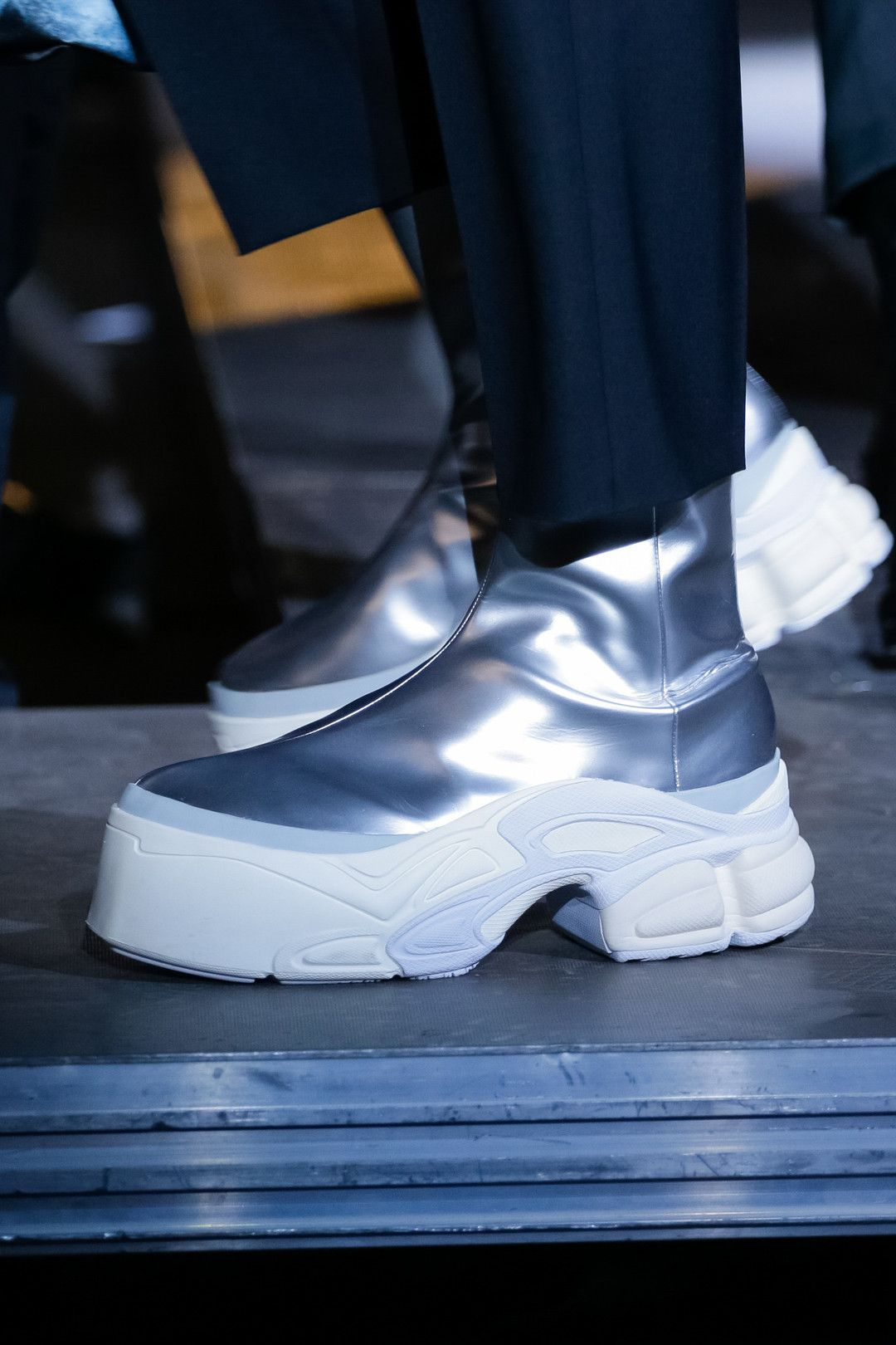 best sneakers 0c00d 10690 adidas by Raf Simons SpringSummer 2019 Footwear sneakers leather platform  boot Ozweego Detroit Runner paris fashion week runway