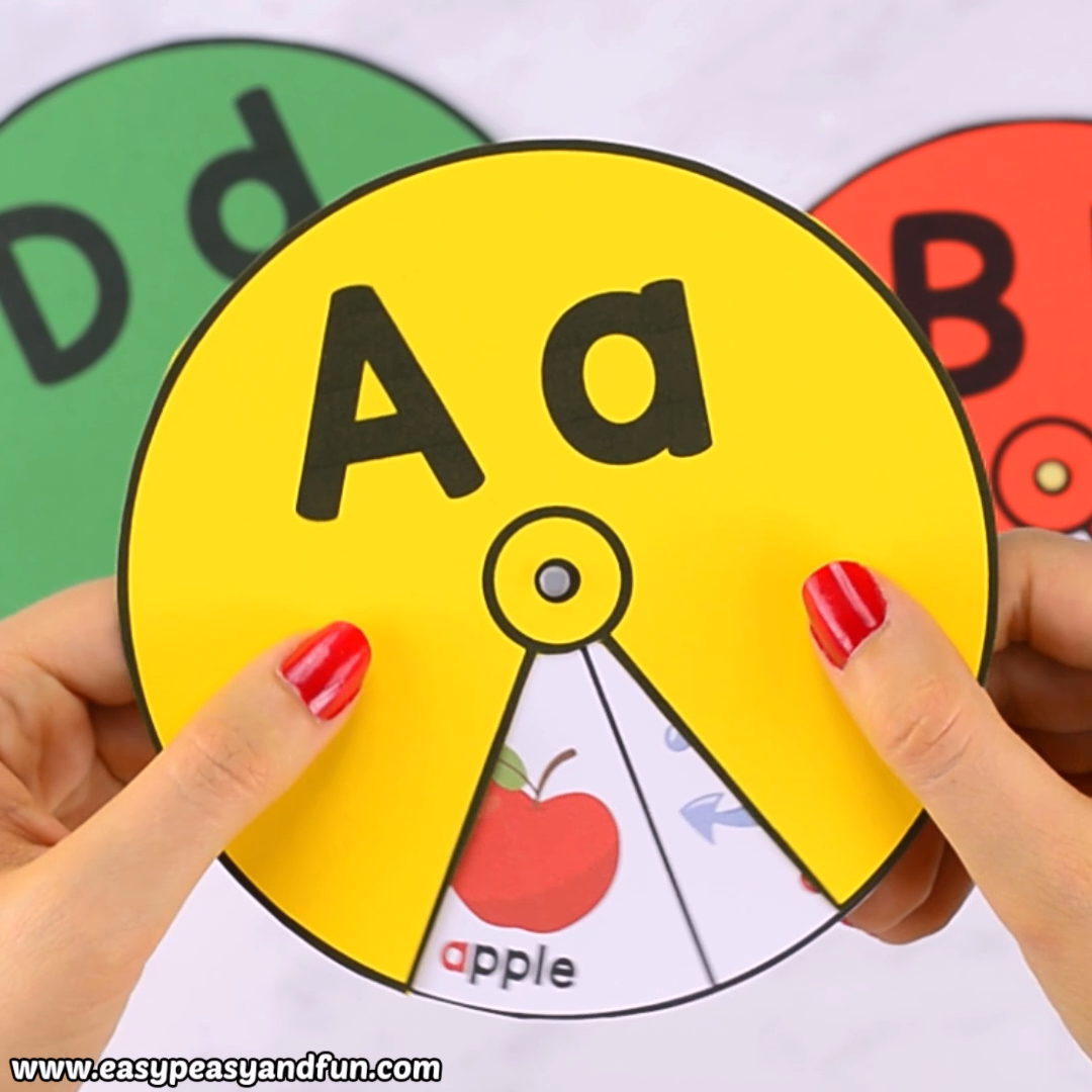 Help the kids master the alphabet with this printable alphabet spinners. Practice the ABC's or beginning letters with cute images