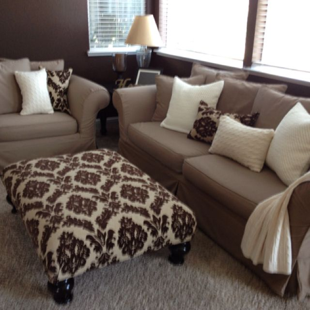recovered my ottoman sewed matching pillows. Black Bedroom Furniture Sets. Home Design Ideas
