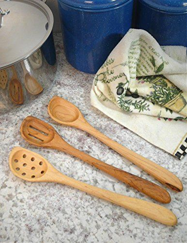 American Made Natural Hard Maple Wood Angled Cooking Spoons ...
