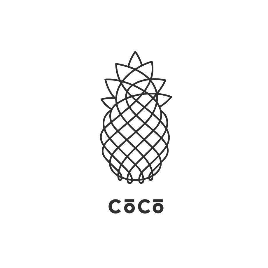 Clean Line Drawing Logo Pineapple Simple Art