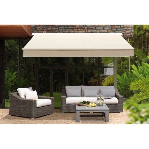 Sunjoy Semi Cassette 14 X 10 Ft Retractable Awning Beige Patio Awning Retractable Awning Pergola