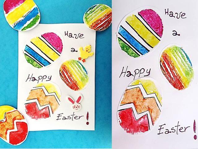 Paso a paso para hacer unos sellos con forma de Huevito de Pascua con papas.