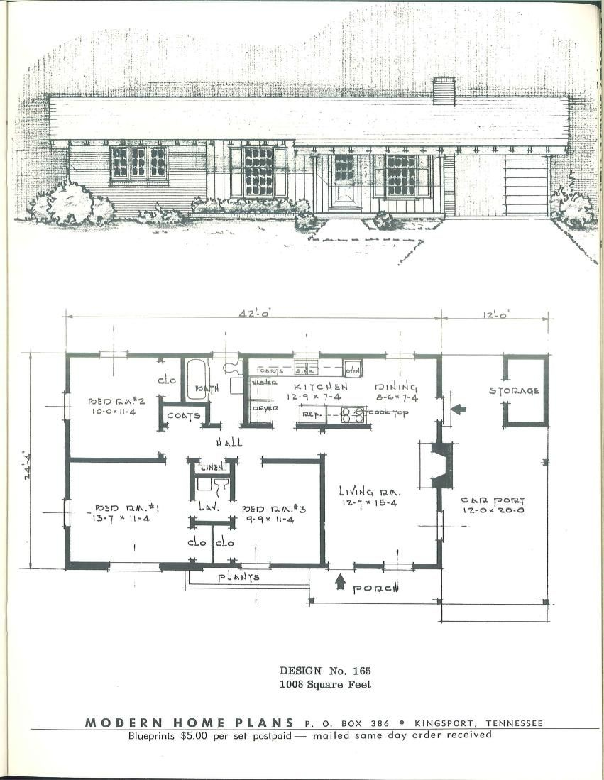 Modern home plans 1955 VinTagE HOUSE PlanS 1950s