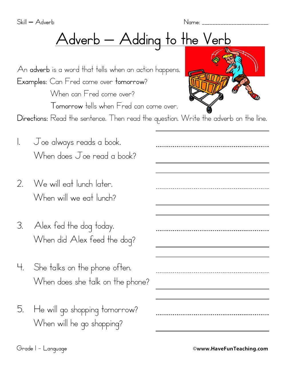 Worksheets • Have Fun Teaching   Adverbs worksheet [ 1294 x 1000 Pixel ]