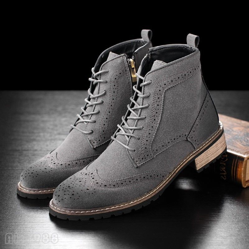Brogue Lace Up Ankle Boots British Mens Wing Tip Leather Carved High Top Shoes