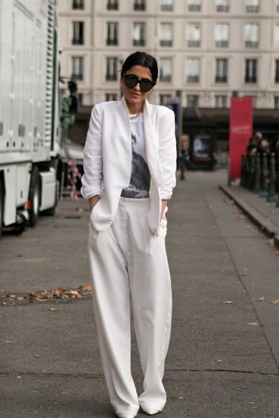 How to pull off Head to Toe White: #1 Pure and Simple- mix in soft creams and texture #2 Polar Opposites- break it up with Black accents