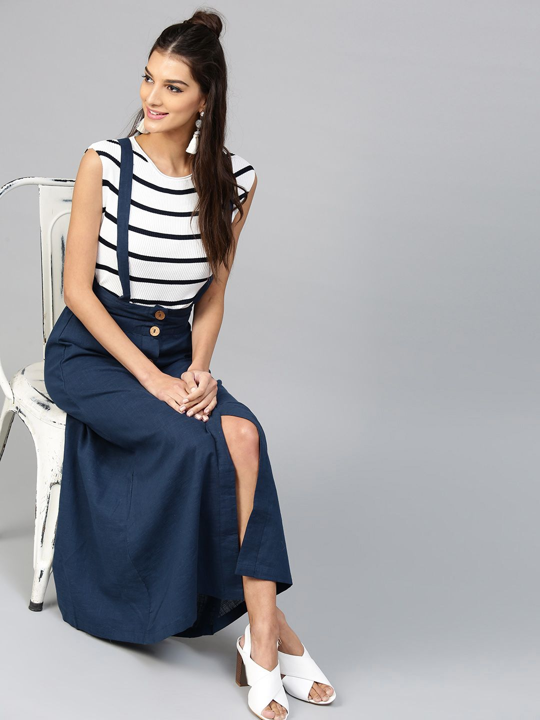 bceae0630e SASSAFRAS Navy Blue Maxi Skirt with Suspenders DISCOUNT:-50% #Women  #Navyblue #skirt #fashion #wear #look #love #like #cool #classy #brand  #quality