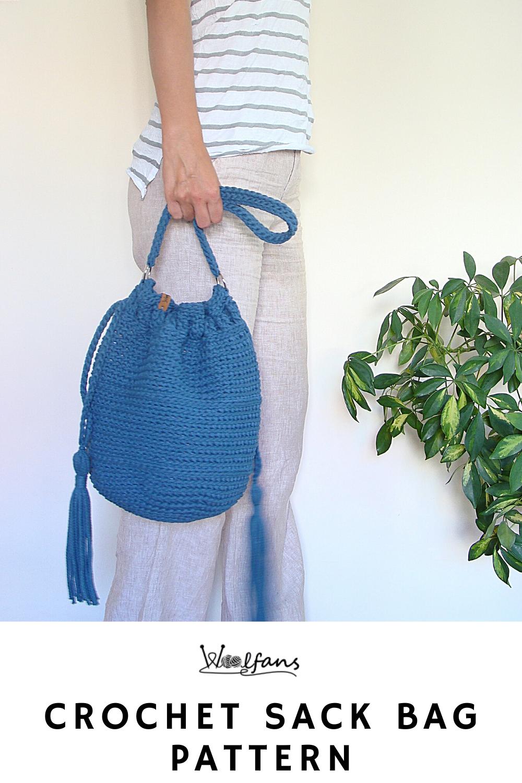 boho sack purse pattern Crochet drawstring bag pattern crossbody bag pattern crochet bucket bag pattern