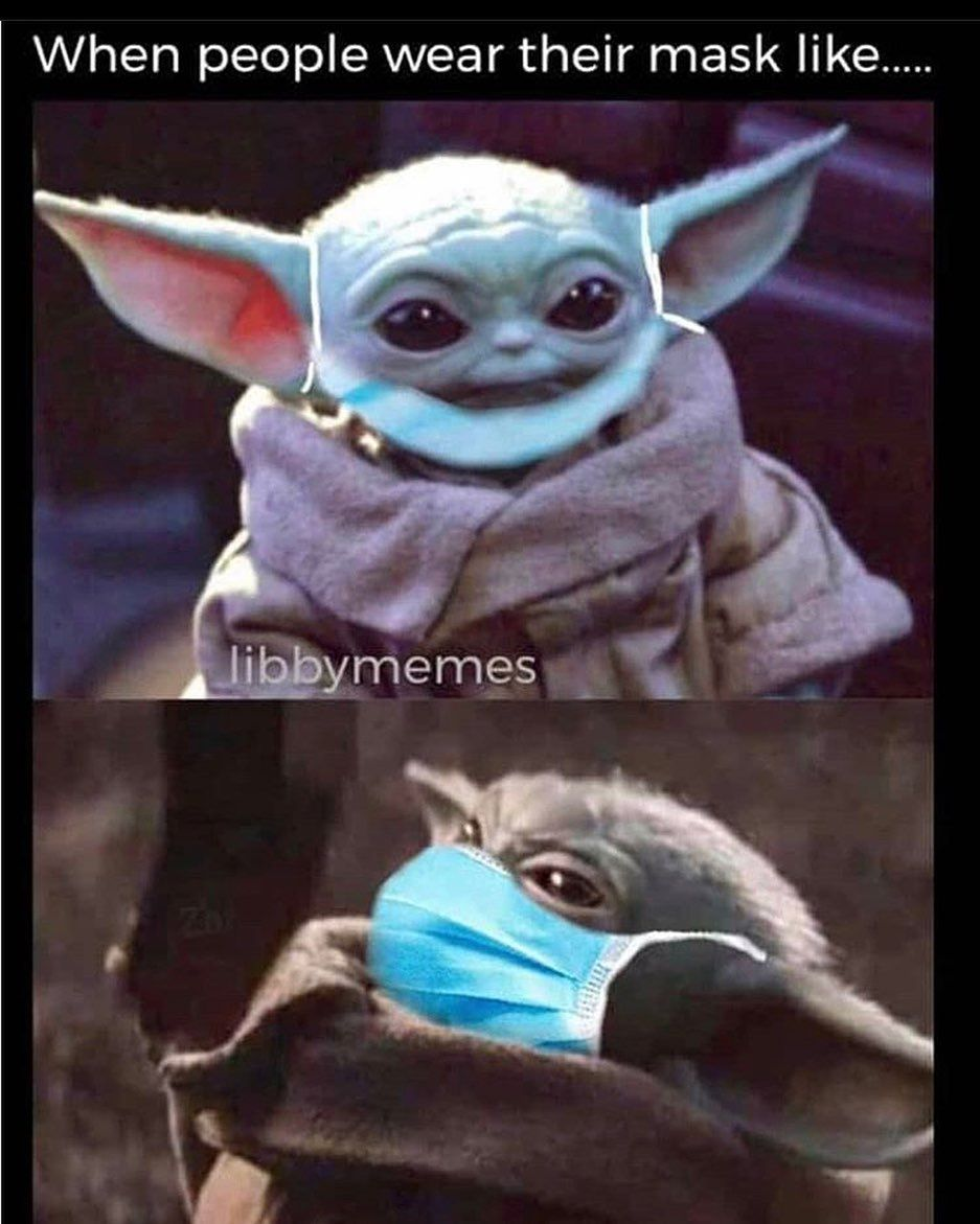 Thechild Shared A Photo On Instagram Please Wear A Mask Correctly Babyyoda The Yoda Pictures Yoda Wallpaper Funny Video Memes