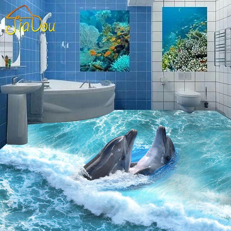 Custom Photo Floor Wallpaper 3d Stereoscopic Dolphin Ocean Bathroom Floor Mural Pvc Wallpaper Self Adhesive Floo Floor Murals Bathroom Flooring Floor Wallpaper