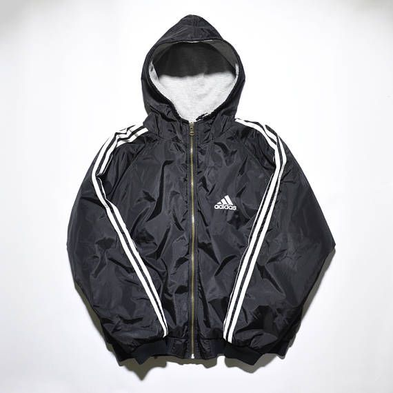 Adidas 90s Vintage Reversible Hooded Bomber Jacket