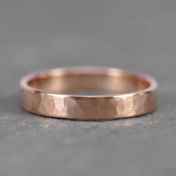 14k Rose Gold Wedding Band 4mm Wide Hammered Matte Gold Ring Sea Babe Jewelry 18k Rose Gold Wedding Band Rose Gold Wedding Bands Gold Wedding Band