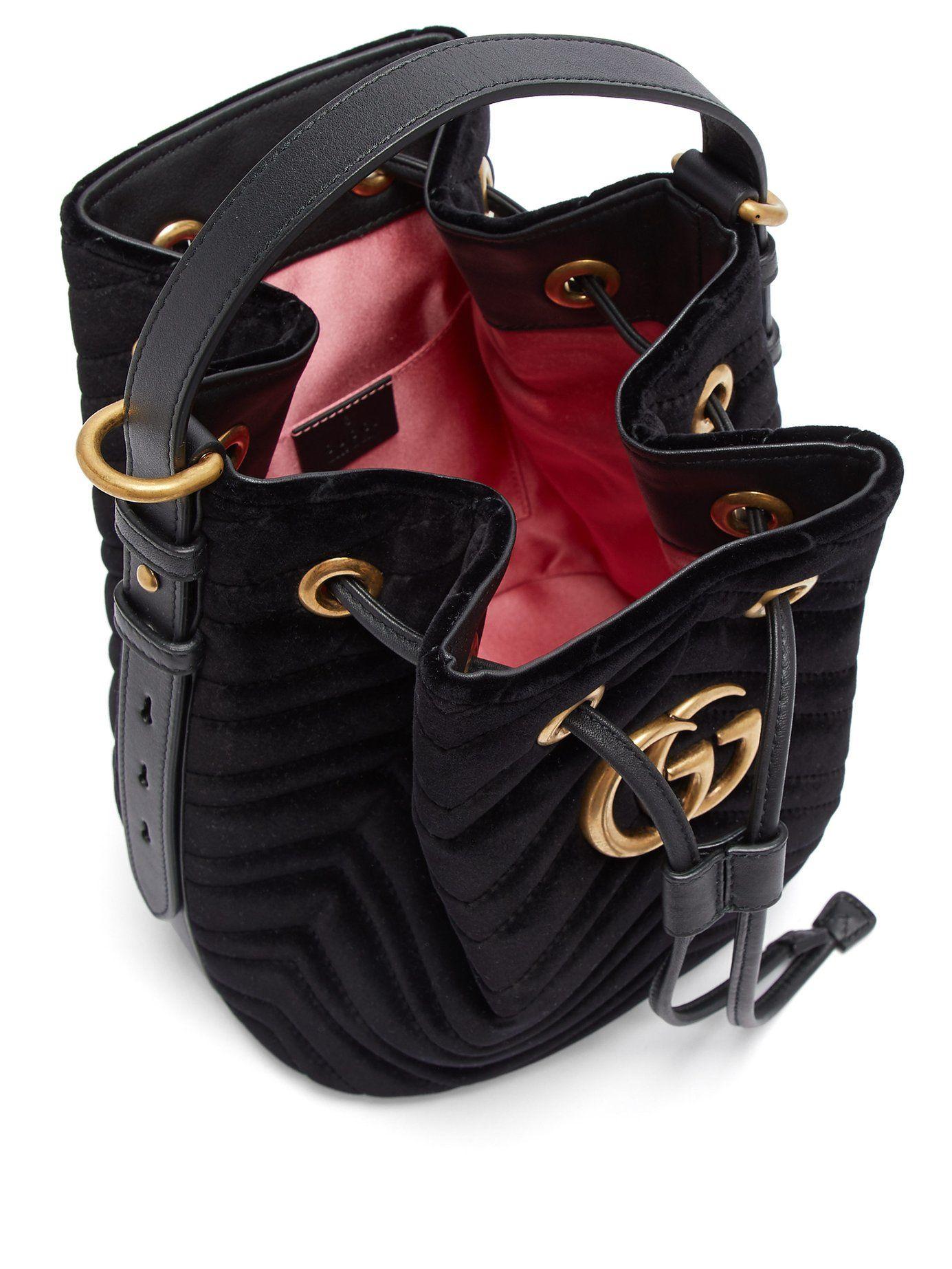 ac520fdae7f GG Marmont velvet bucket bag