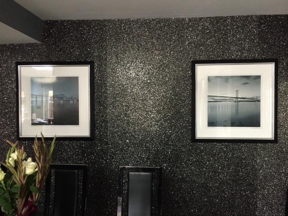 Glamorous black/ silver glitter wall , | Glitter wall ...
