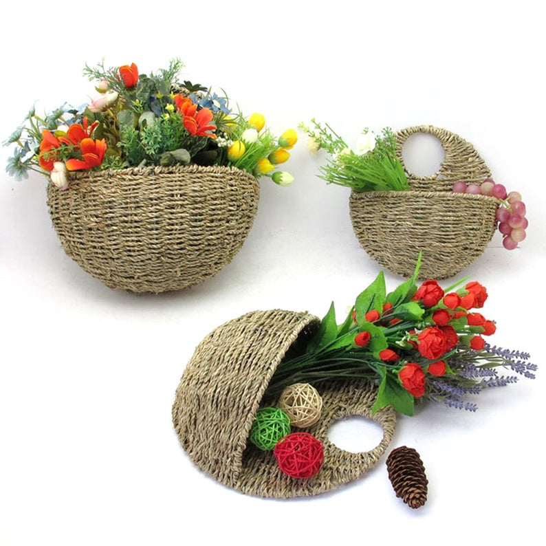 Straw Wall Hanging Basket Artificial Flower Decoration Prop