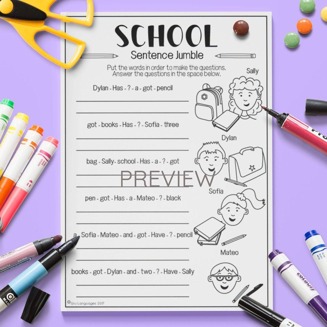 School Sentence Jumble