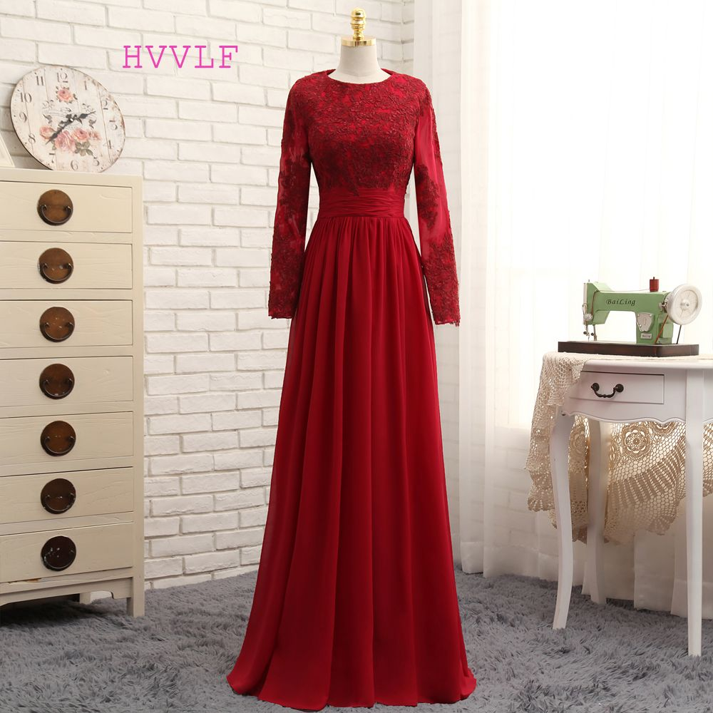 muslim evening dresses aline long sleeves red appliques lace
