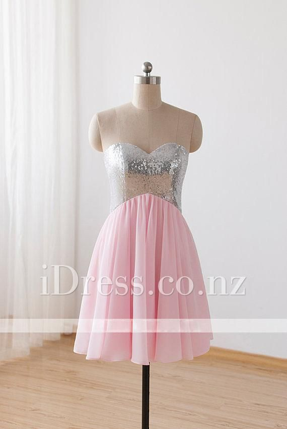 Strapless Sweetheart Bling Bling Bodice Pink Chiffon Short Skirt ...