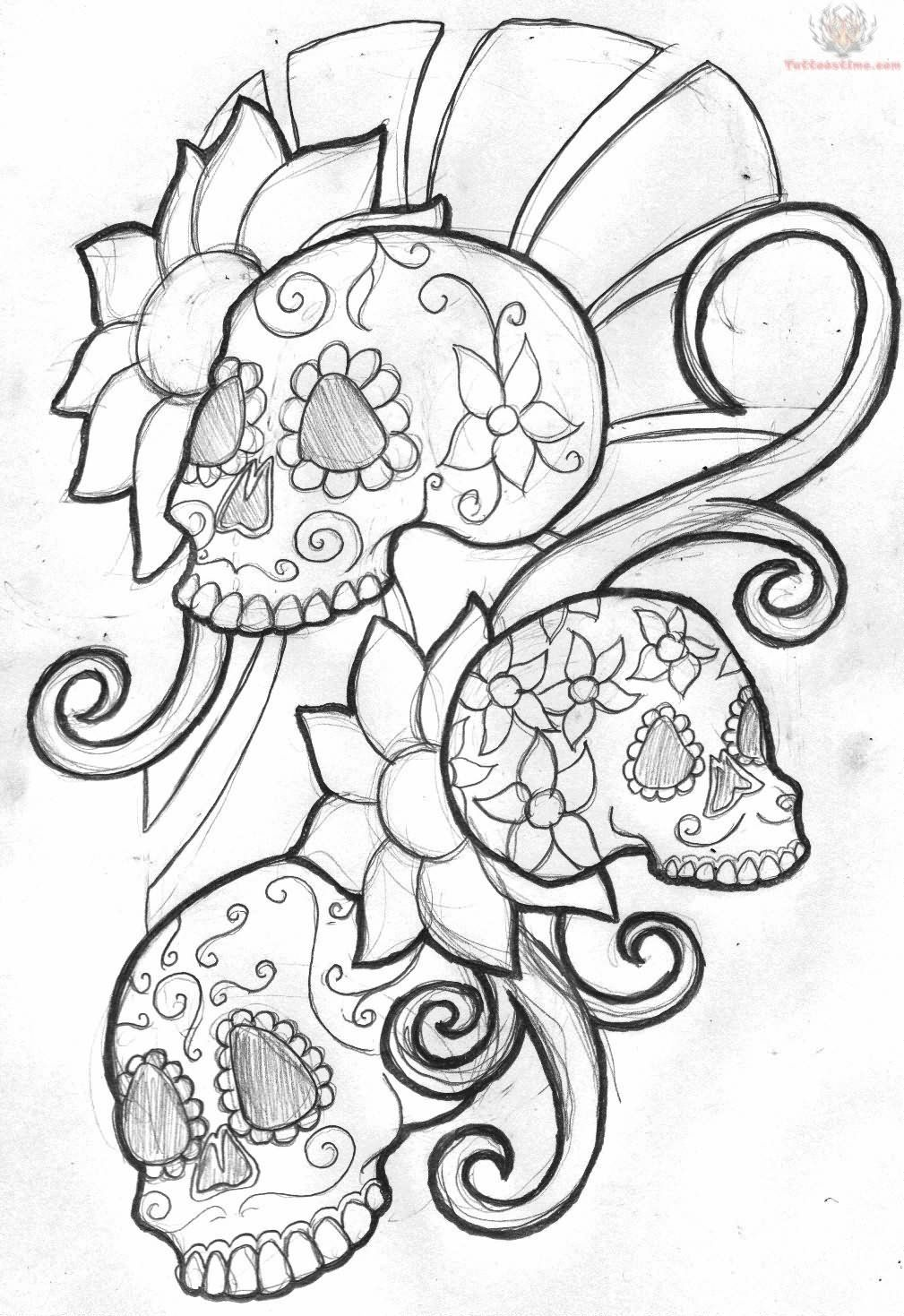 Skull Line Drawing Tattoo : Cool zombie skull tattoo drawings tagged