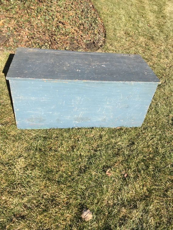 FREE SHIPPING Antique Blanket Chest Six Board Chest 6 Board Chest Vintage Trunk Antique Trunk Blue Trunk