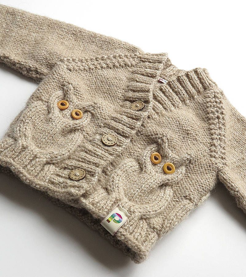 Baby Hand Knitted Owly Cardigan Baby Hands Oatmeal And Cable