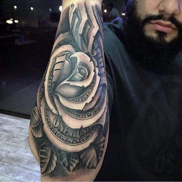 80 Money Rose Tattoo Designs For Men Cool Currency Ink Money
