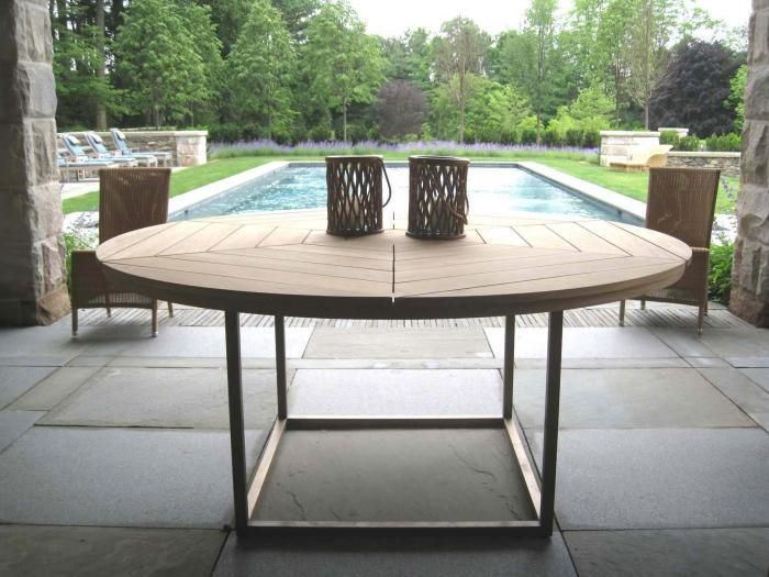 large round patio table and chairs leather high back chair 10 easy pieces wooden dining tables outdoor living by munder skiles via gardenista