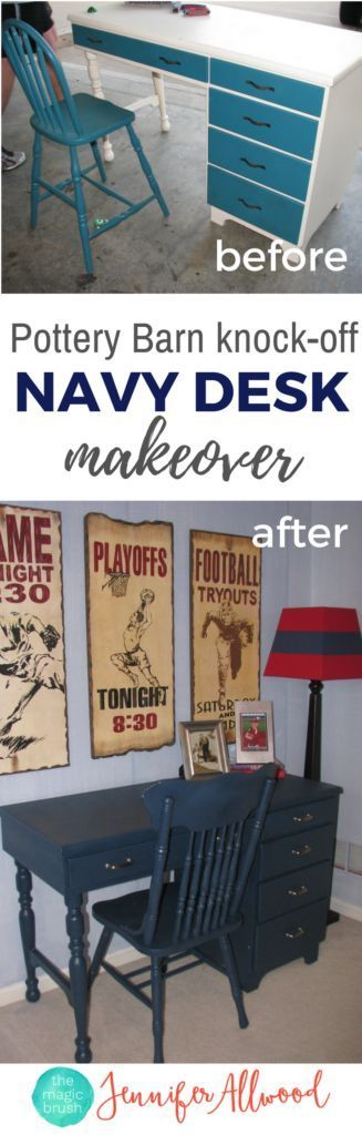 Navy Desk Makeover  by Jennifer Allwood of the MagicBrushInc.com | Boys Bedroom Furniture Ideas | Navy Desk Ideas | Painted Desk | How to Spray Paint Furniture | How to Paint Furniture