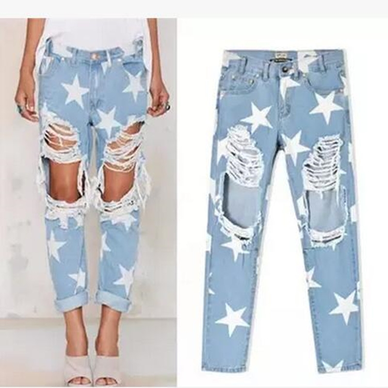 18.99$  Buy here - http://alipkm.shopchina.info/go.php?t=32804952952 - 2017 New Arrive Fashion Women Denim Jeans Casual Ladies Hole Jeans Stars Printing Straight Denim Ripped Jeans For Women 18.99$ #aliexpress