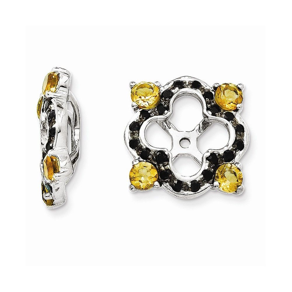 Sterling Silver Citrine & Black Sapphire Earring Jacket