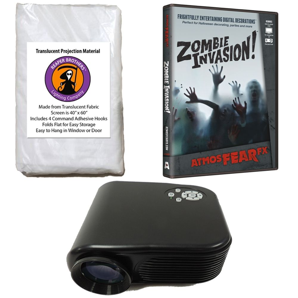 this virtual reality halloween decoration kit includes projector halloween dvd of your choice and 42 x 48 fabric high resolution projection screen