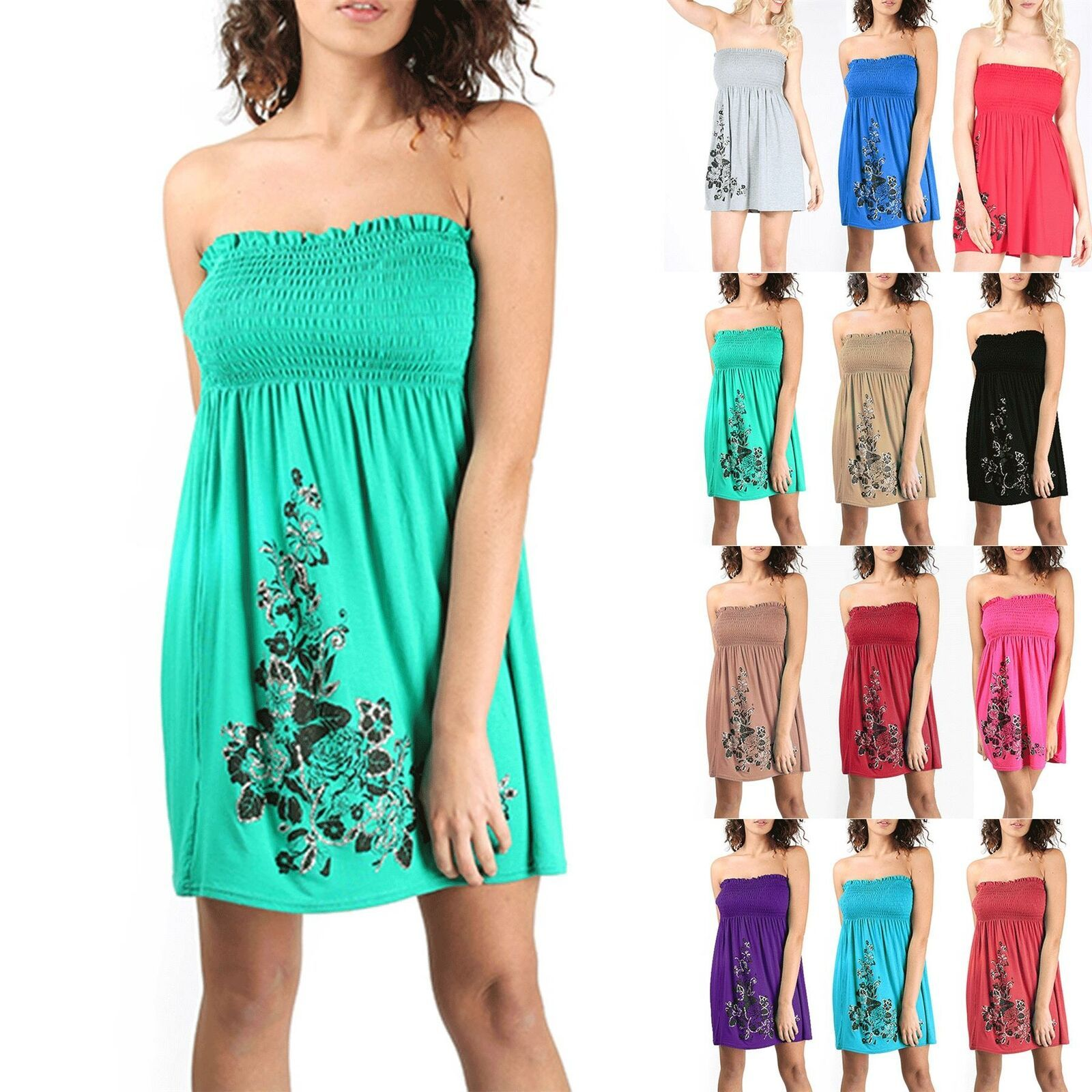 LADIES WOMEN/'S NEW SHEERING BANDEAU BOOB TUBE STRAPLESS MAXI PARTY DRESS  8-26