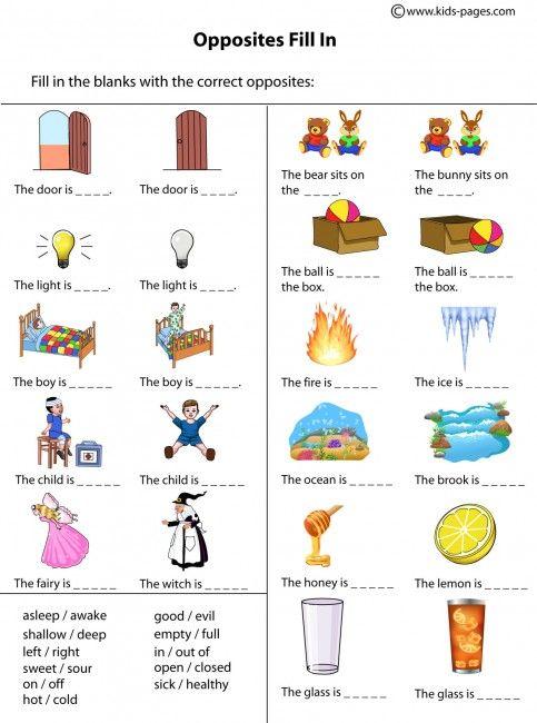 Opposites Fill In Worksheet Opposites Worksheet Opposites Worksheets Preschool Opposites Opposites worksheet kindergarten