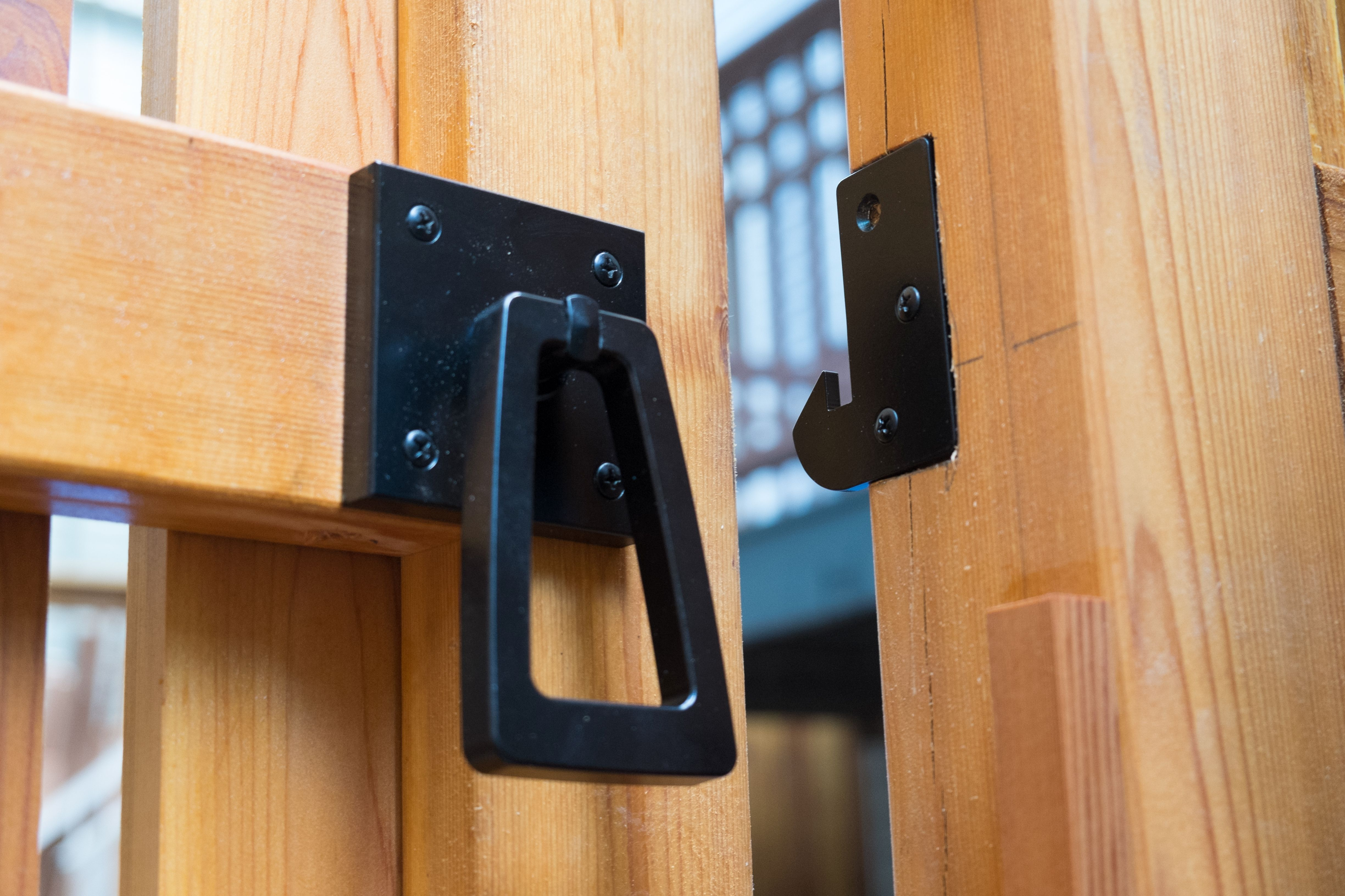 Modern Gate Latch With Geometric Tapered Ring Handle Exterior
