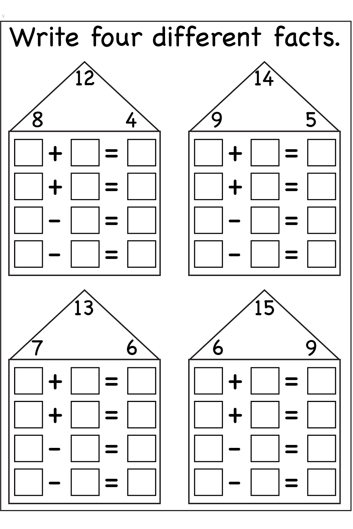 Fact Family Worksheets Printable   Fact family worksheet [ 1800 x 1202 Pixel ]