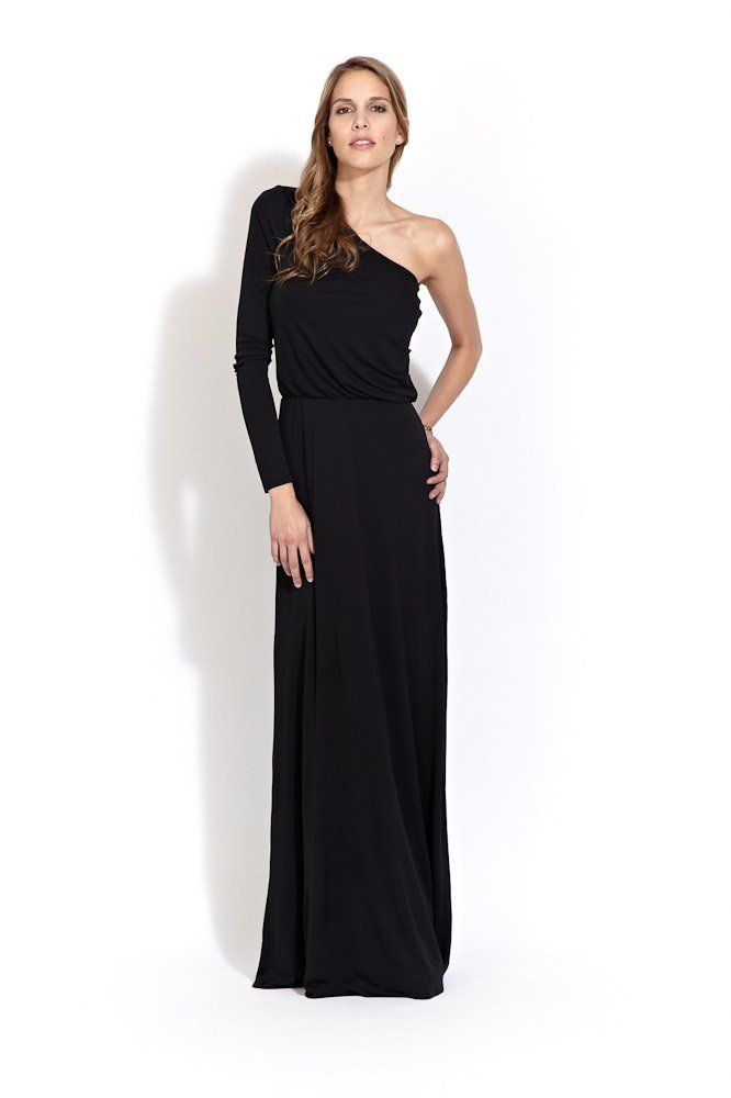 f1cf2c3d299b Halston Heritage Long Sleeve One Shoulder Gown | Ode to Halston ...