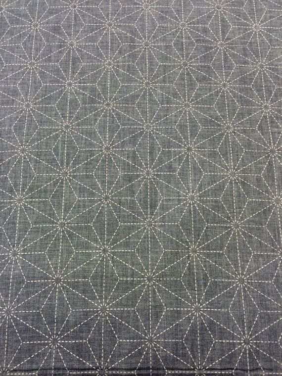 7f6e4084 Preprinted Sashiko Asanoha hemp leaf design Japanese by kimonomomo ...