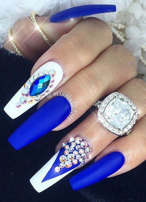 white royal blue rhinestone nails design nailart nails
