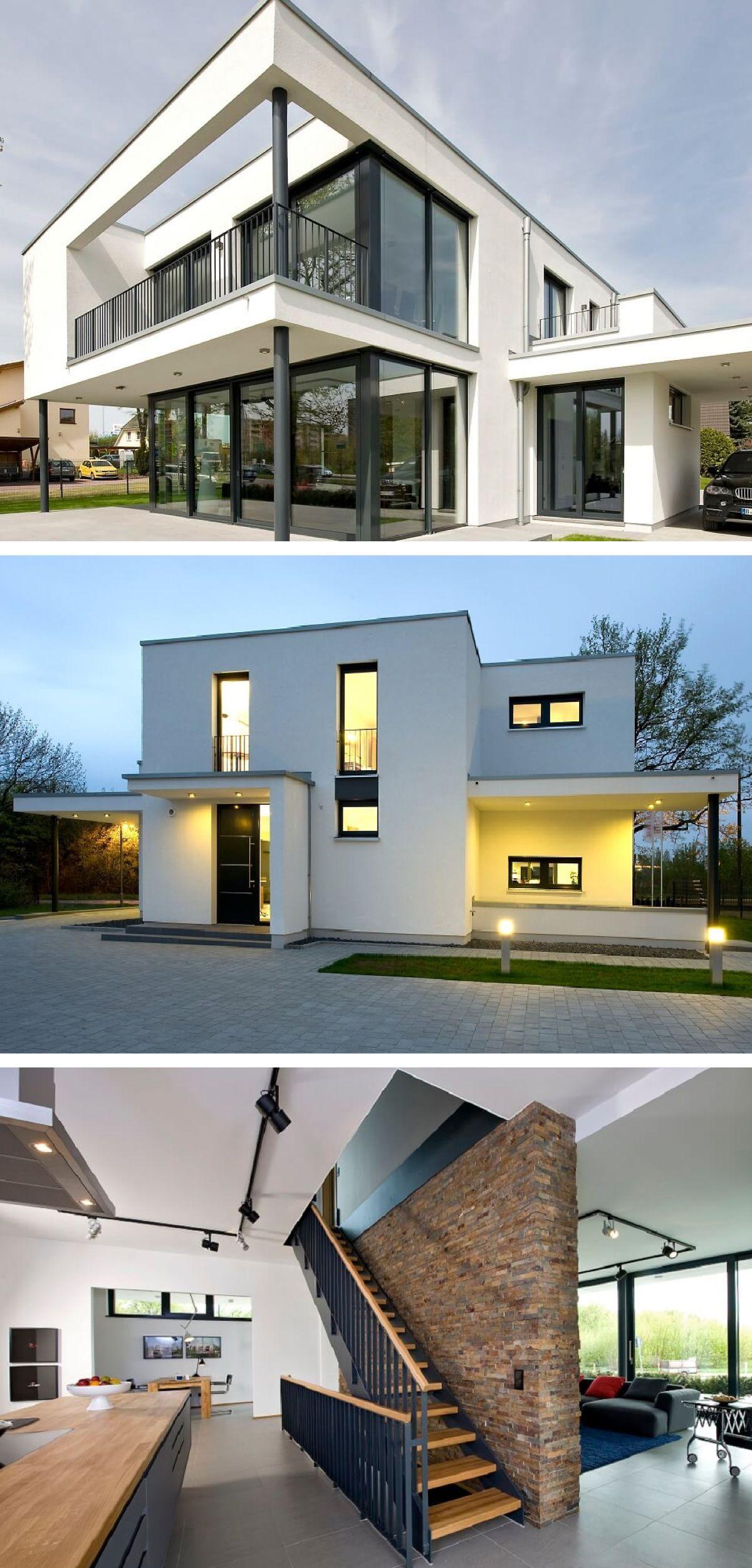 Stadtvilla modern im BauhausStil mit Flachdach