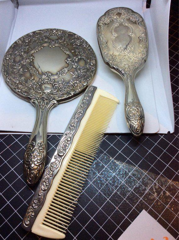 Silver Plated 3 Piece Dresser Set Fluted Design Ribbons Dresser Sets Vintage Flowers Art Deco Vanity