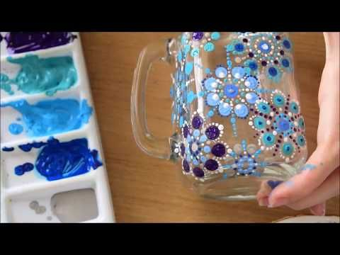 dot mandala technique glass paining tutorial  youtube