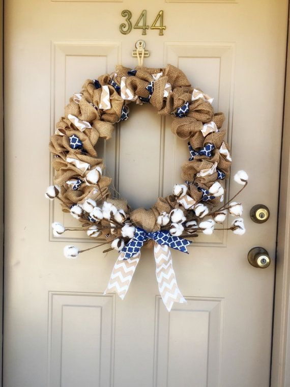 Burlap and Cotton Boll wreath $60 on BucksFarmhouse on Etsy