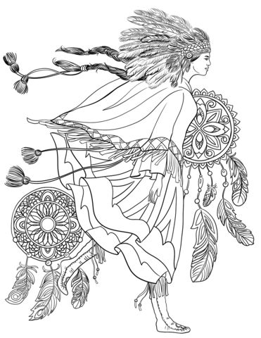 Indigenous Woman In A Traditional Costume Coloring Page Coloring Pages Mandala Coloring Pages Drawings