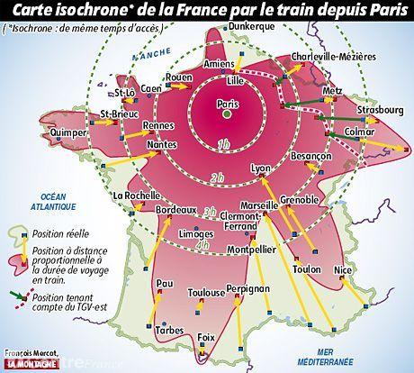 Carte isochrone de la France par le train depuis Paris ...