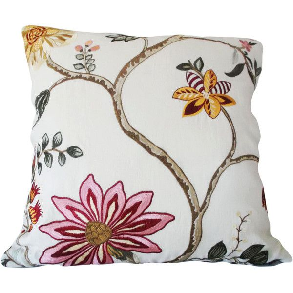 Pink Gold Floral Embroidered Decorative Pillow Cover Throw Pillow Toss... ($35) liked on ...