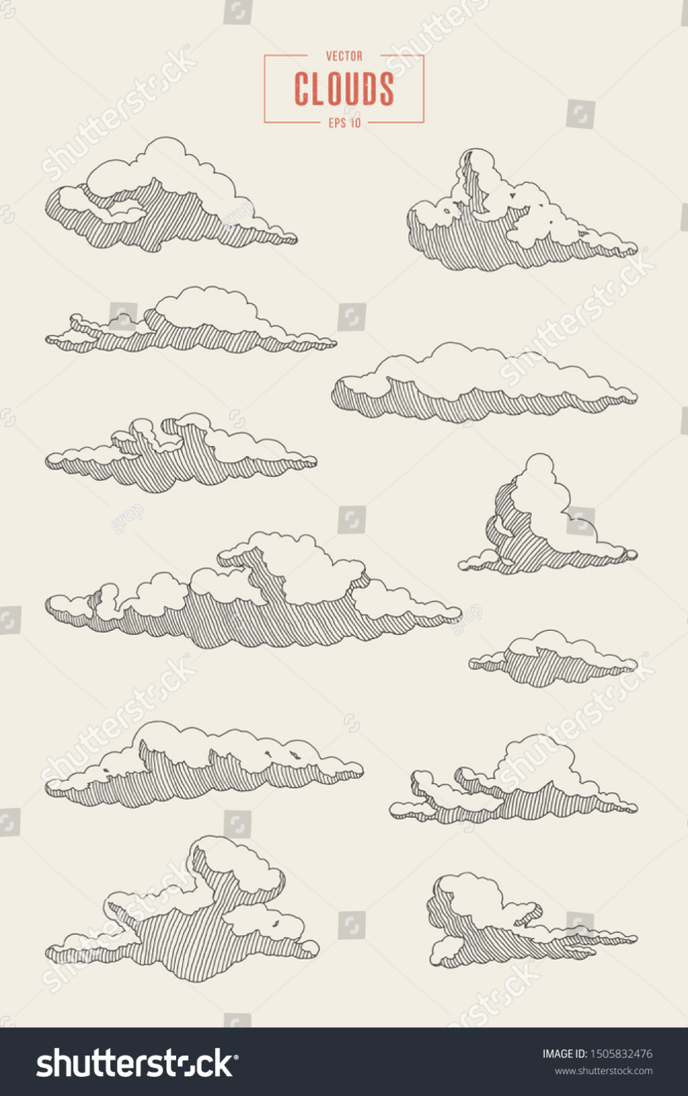 Collection Engraved Style Clouds Hand Drawn Stock